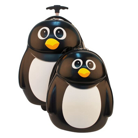 儿童可爱动物母子旅行箱包套装 黑