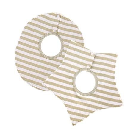 婴儿圆形五角星2条装组合围嘴 米绿宽条纹