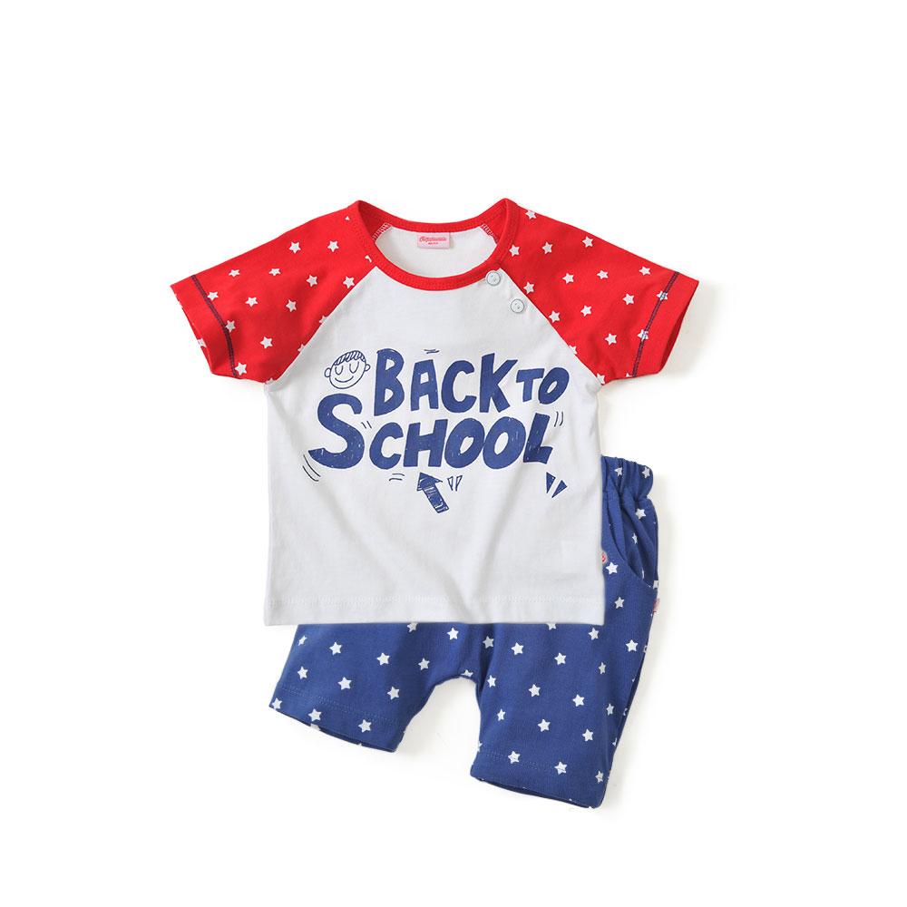 男宝宝套装新款男童星星卡通纯棉休闲衣服两件套 白