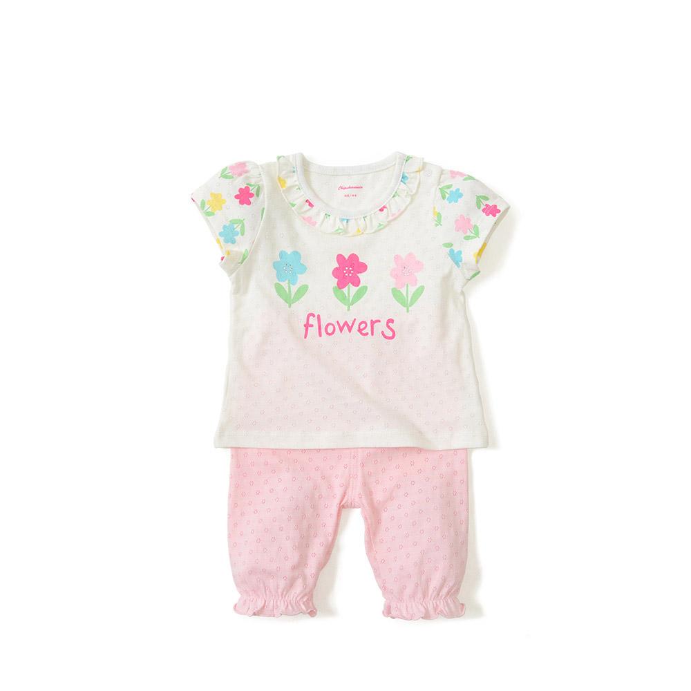 夏季女童女宝宝印花纯棉休闲外出服套装