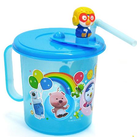 韩国进口儿童水杯卡通头像吸管水杯学生水杯可爱水壶 蓝