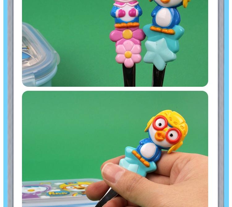 韩国进口儿童可爱叉子勺子组合宝宝叉勺原装儿童餐具 粉企鹅单支勺