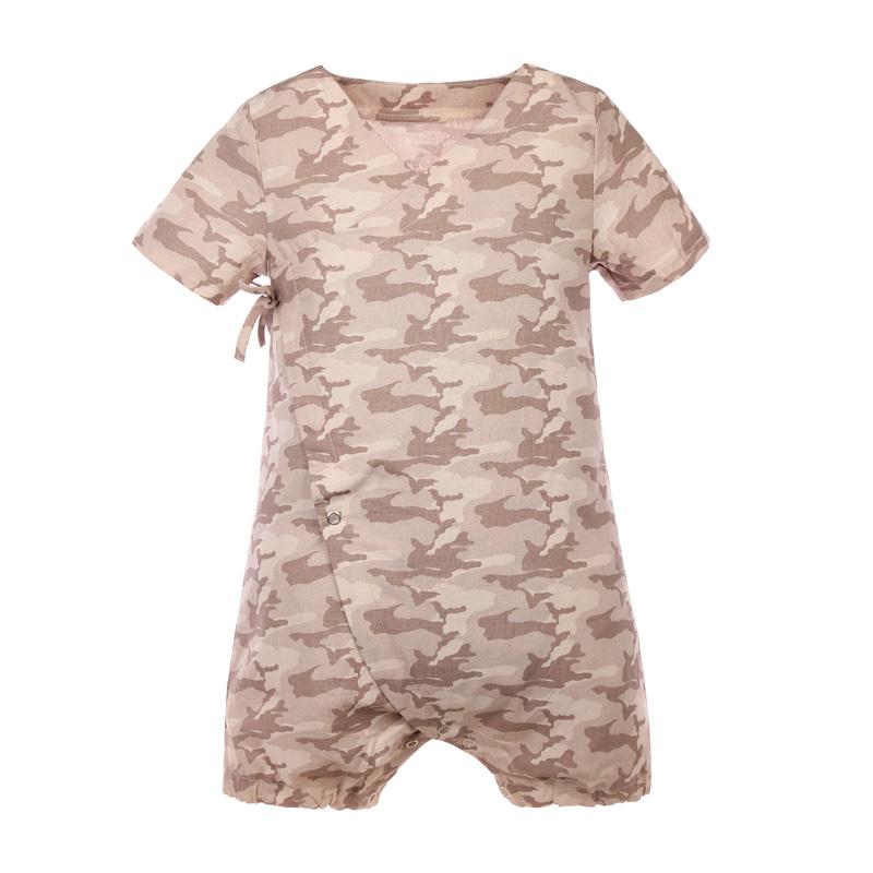 宝宝纯棉短袖和尚服连体衣 棕迷彩