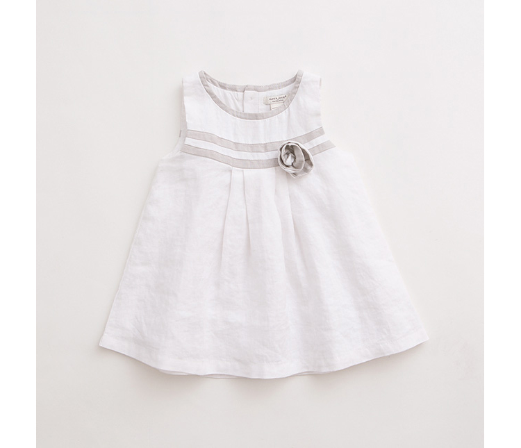 宝宝婴儿连衣裙棉麻裙子15316 白