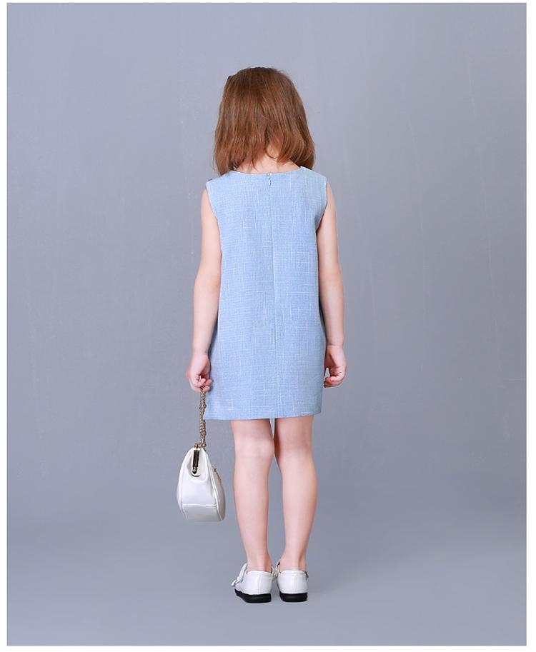 女童剪裁纯色背心裙子
