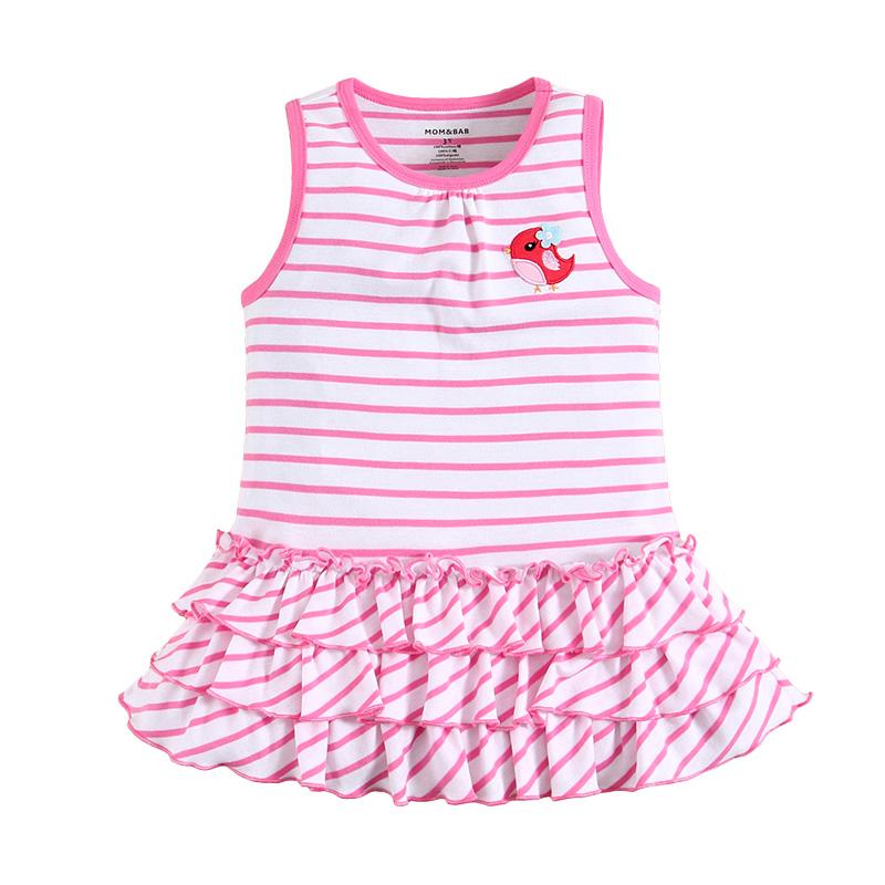 女童无袖连衣裙 宝宝蛋糕裙 玫红条纹