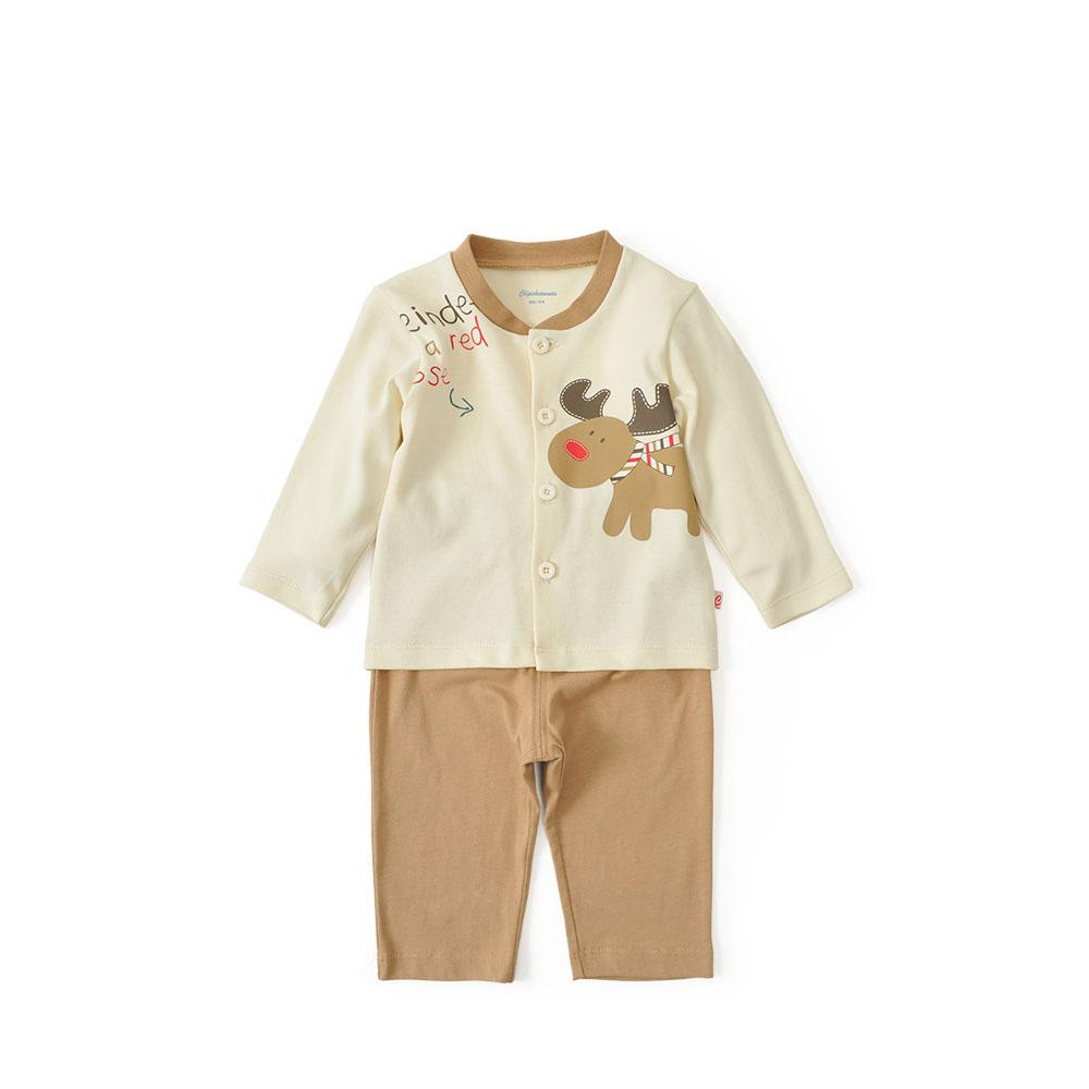 春秋新款男宝宝纯棉卡通长袖开衫套装