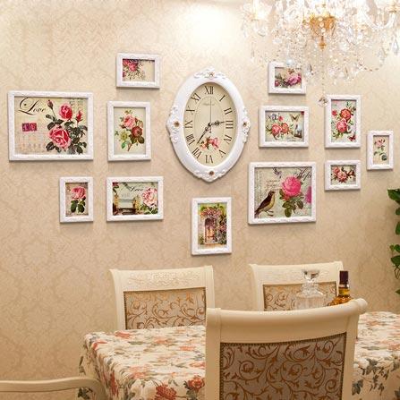 12框现代欧式实木雕花照片墙配时钟 白