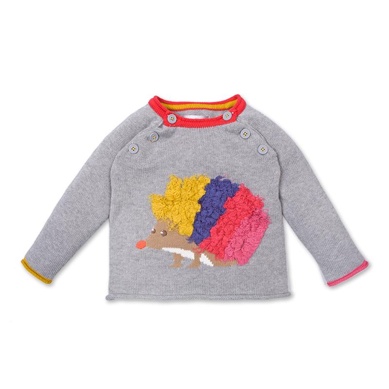 儿童卡通针织毛衣 浅灰