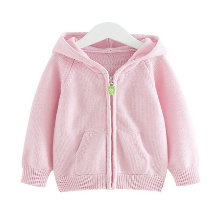 婴儿美利奴纯羊毛衣连帽宝宝羊毛针织衫 粉红