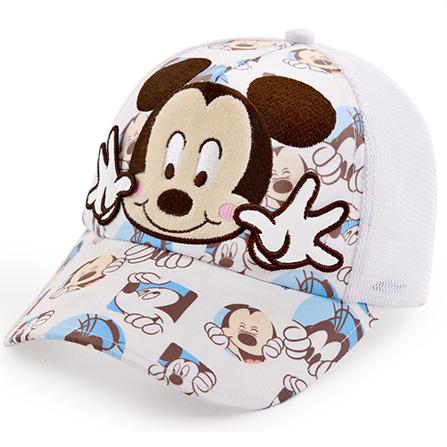 儿童帽子纯棉网眼棒球帽 白