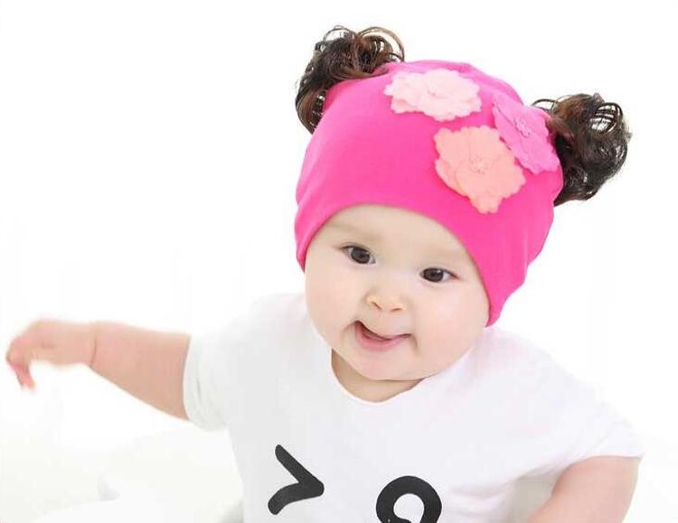 女宝宝帽子春秋婴儿帽子女宝宝套头帽 婴儿假发棉帽子0-3-12月 花朵