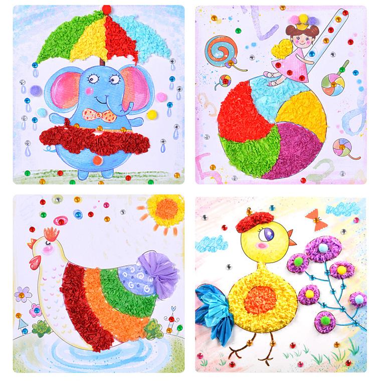幼儿园儿童diy手工制作材料包钻石粘纸创意毛球贴纸画