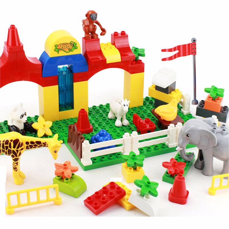 大颗粒积木动物乐园乐高式拼插积木玩具
