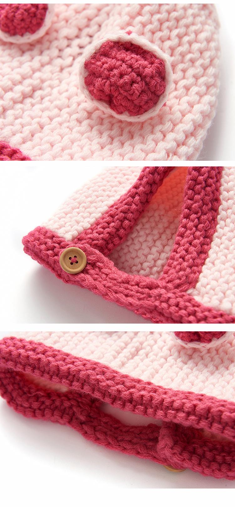 婴儿帽子秋冬针织毛线帽手工编织护耳儿童帽宝宝帽韩版
