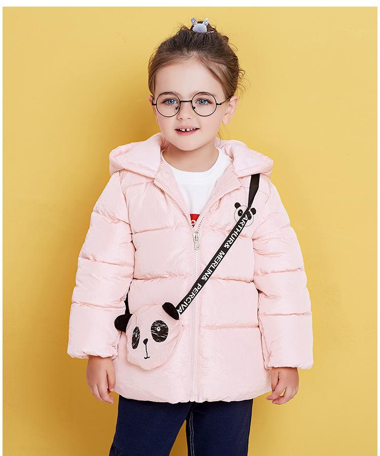 女童冬装连帽外套儿童可爱熊猫包棉服
