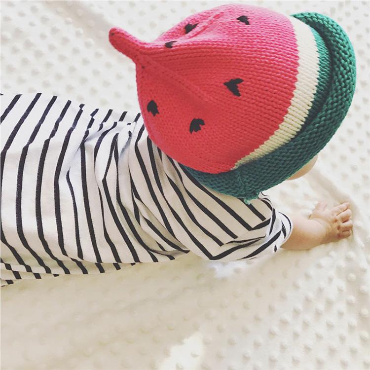 秋冬童帽 男女童宝宝手工针织帽子西瓜帽儿童西瓜毛线帽