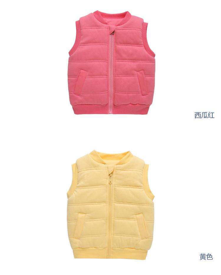 宝宝圆领无袖夹棉马甲冬季婴儿保暖背心