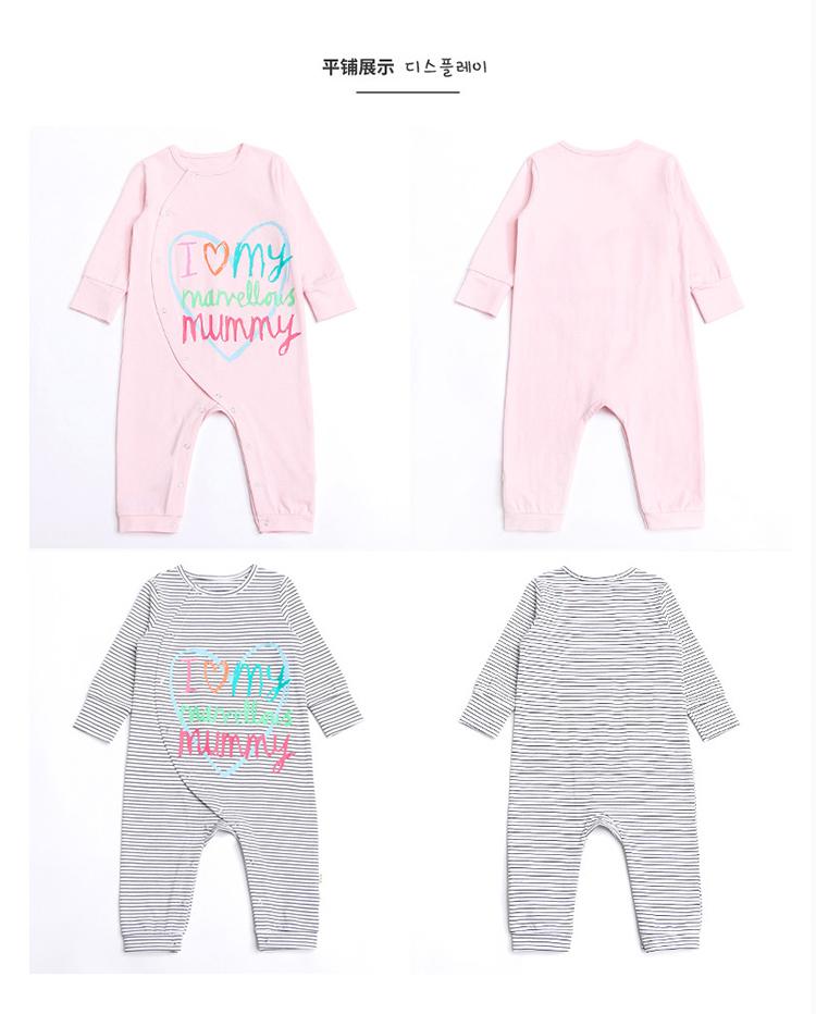 婴儿爬服春装新款纯棉新生儿卡通连体衣