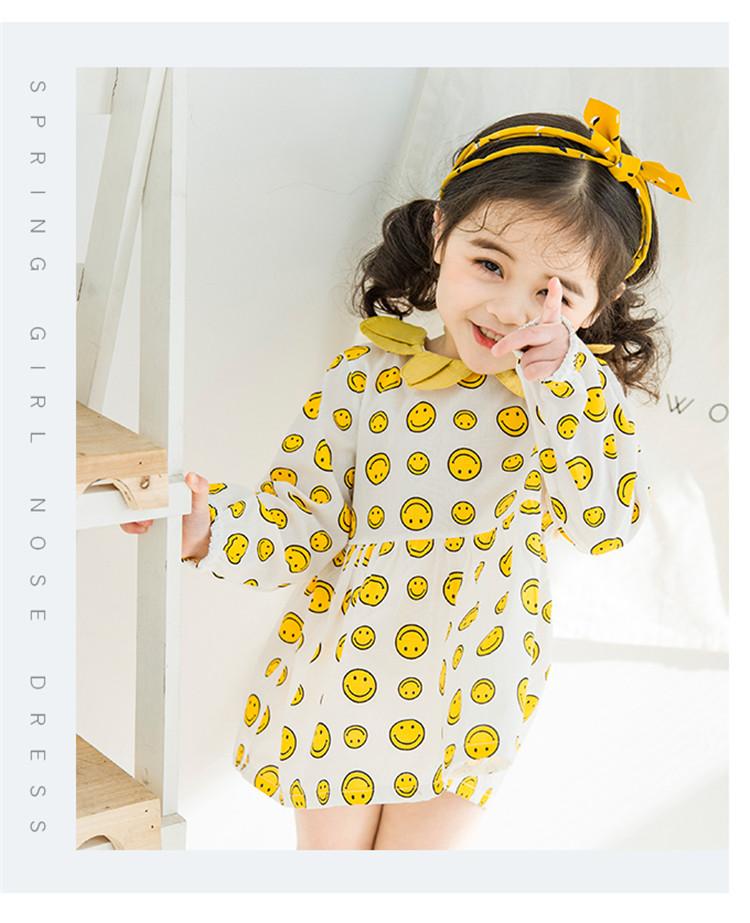 2018春秋女童连衣裙 女宝宝笑脸棉布裙子时尚可爱花朵领娃娃裙