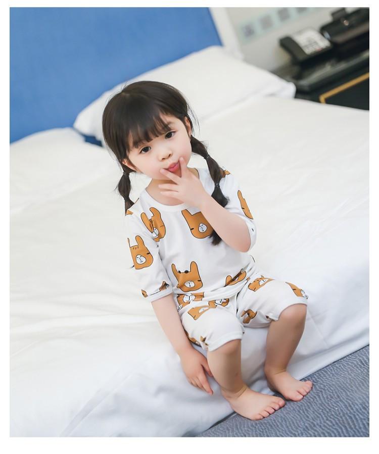 新款女童睡衣家居服女宝宝套装可爱卡通小熊套头睡衣 品牌:初心多咪