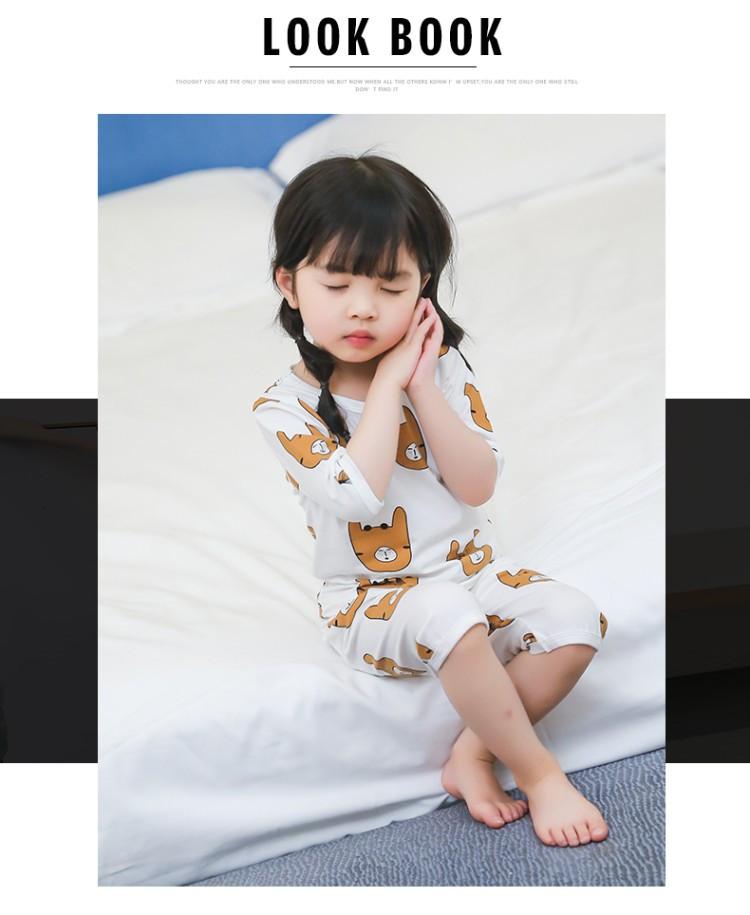 2018夏季新款女童睡衣家居服女宝宝套装可爱卡通小熊套头睡衣