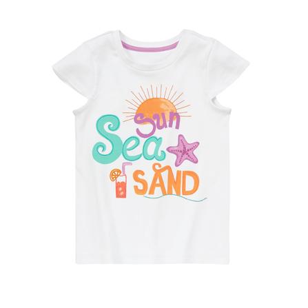 女孩阳光海滩字母t恤