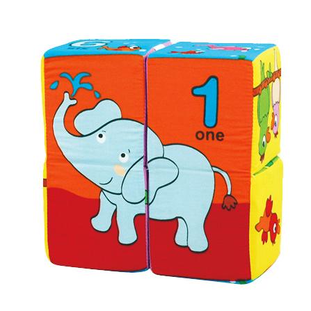 数字与动物 魔方拼图布积木4件装
