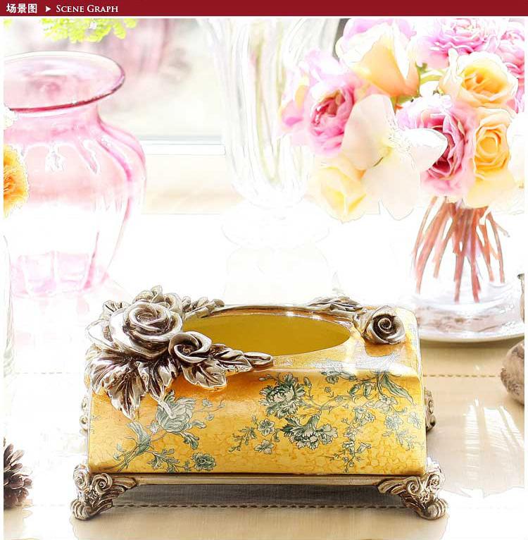 高贵宫廷欧式玫瑰花黄底雕花抽纸盒