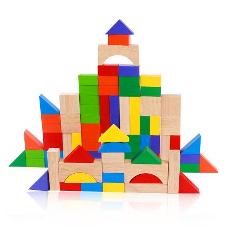 积木是让宝宝认识不同的颜色和几何形状,数一数同种颜色的木块