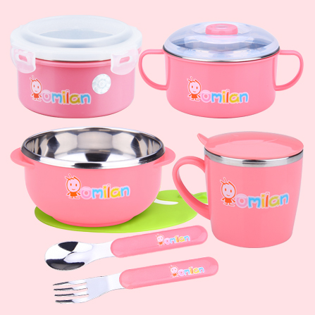 宝宝卡通餐具套装 粉红