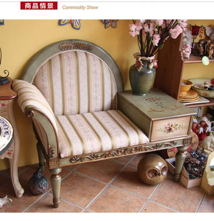 手绘牡丹花欧式田园单人沙发椅