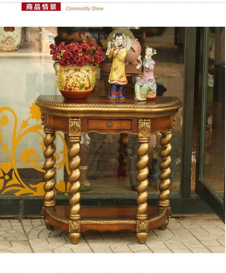 鱼西美屋 欧式手绘田园金色玄关柜 樱桃木 品牌:鱼西美屋 分类:家具