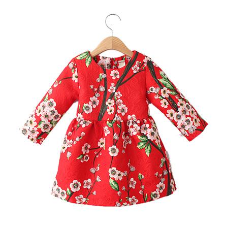 中国风桃花刺绣提花图案连衣裙 红