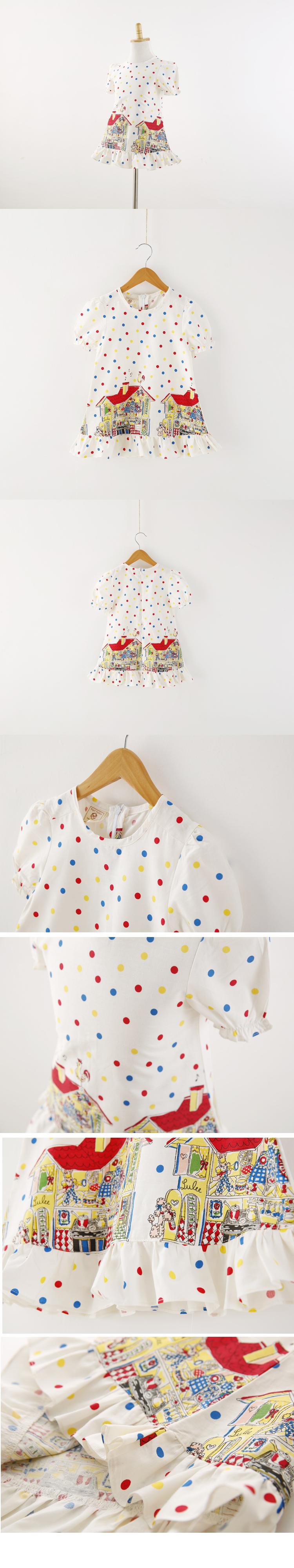 卡通小房子彩色波点连衣裙