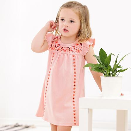 夏季新款儿童装裙子纯棉短袖小孩连衣裙 粉